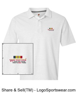War Zone Wear Polo with Navy/Marine Combat Action Ribbon Design Zoom