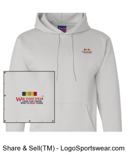 WarZoneWear.com Hooded Sweatshirt with Combat Action Ribbon Design Zoom