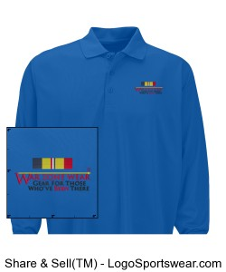 WarZoneWear.com Long Sleeved Polo with Navy/Marine Combat Action Ribbon Design Zoom