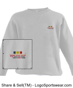 WarZoneWear.com Sweatshirt with Combat Action Ribbon Design Zoom